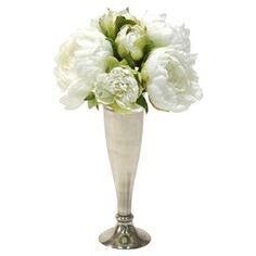 Faux peony arrangement in a silver-finished trumpet vase.