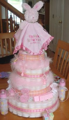 Love this! diaper cake made for my sister's child bathe, used about one hundred fifty diapers complete...
