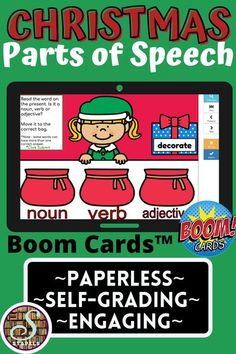 Students will identify Parts of Speech with these Boom Cards™. Help the Elf put the sort her presents in Santa's bags with this fun activity for the Christmas season. On each task card, there is a present with a word about Christmas or the holidays. Students must figure out if the word is a noun, verb, or adjective. Then they click and drag the gift to the correct bag and click submit. Boom Cards are self-checking and self-grading to make playing easy and fun. Christmas Activities, Classroom Activities, Fun Activities, Parts Of Speech Practice, 4th Grade Classroom, Unique Cards, The Elf, Some Words, Task Cards