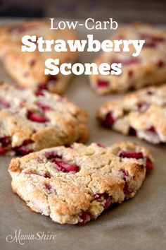 Perfect for breakfast, brunch, or with tea. Dairy-free, Sugar-free, and Low-carb. Trim Healthy Mama S. Gluten Free Diet Plan, Best Gluten Free Recipes, Low Carb Recipes, Diet Recipes, Strawberry Scones, Strawberry Recipes, Cheap Clean Eating, Clean Eating Snacks, Low Carb Desserts