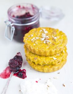 [ Recipe: Baked Saffron Pancakes & Forest Berries ] with banana, soy milk, rice flour, baking powder, salt, carrots, almonds, coconut oil and SAFFRON. ~ from GreenKitchenStories.com