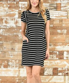 Look what I found on #zulily! Black Stripe Short-Sleeve Dress #zulilyfinds