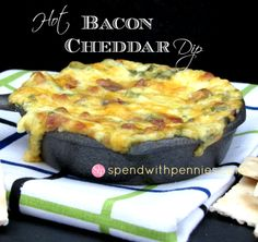 Hot Bacon Cheddar Dip!  This creamy cheesy dip is easy to make and delicious! It goes great with crackers, bread or veggies!