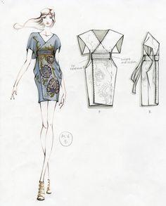 Fashion Sketchbook - fashion illustration; dress drawings for Alabama Chanin; fashion portfolio
