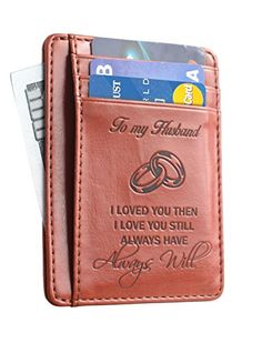 Memory Wife To Husband Gift Best Anniversary Gifts For Him slim Wallet Card Holder -- Find out more at the image link. #AnniversaryGift