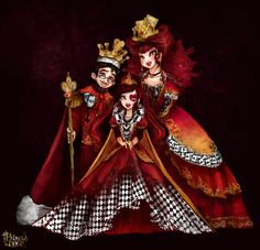 Queen & King of Hearts their daughter Lizzie Hearts Lizzie Hearts, Queen Of Hearts, Monster High Art, Monster High Dolls, Ever After High, Arte My Little Pony, Chibi Kawaii, Character Art, Character Design