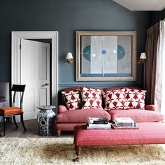 See all our stylish living room design ideas on HOUSE by House & Garden, including this rich and luxurious living room with dark painted walls and a red sofa. Small Living Room Design, Living Room Red, Small Living Rooms, Living Room Modern, Living Room Sofa, Living Room Furniture, Living Room Designs, Living Room Decor, Living Room Ideas Red Sofa