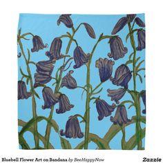 Bluebell Flower Art on Bandana