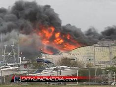 hurricane ike in galveston | Hurricane Ike Yacht Facility Fire in Galveston, Texas STOCK