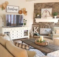 47 Brilliant Farmhouse Living Room Wall Decor Ideas Brilliant Farmhouse Wohnzimmer Wanddekoration Id Living Room Remodel, My Living Room, Home And Living, Living Room Decor, Small Living, Modern Living, Apartment Furniture, Living Room Furniture, Home Furniture