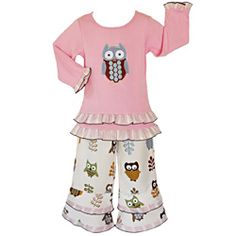 @Overstock - This two-piece owl outfit from AnnLoren is the perfect accessory for your daughter's wardrobe. Made from 100-percent cotton, the pink blouse is accented with lovely ruffles, and the white pants have an elastic band for a comfortable and snug fit. http://www.overstock.com/Clothing-Shoes/AnnLoren-Girls-2-piece-Adorable-Owls-Outfit/6821991/product.html?CID=214117 $27.49