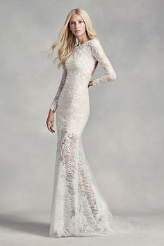 White by Vera Wang Lace and Beads Wedding Dress | David's Bridal