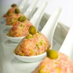 Food on spoons on pinterest canapes spoons and for Edible canape spoons