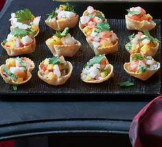 Corn cups with prawns, mango & chillies