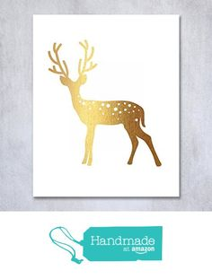 Deer Gold Foil Print Small Poster Home Decor Wall Art Reindeer Antlers Rustic Chic Metallic Gold Art 5 inches x 7 inches D3 from Digibuddha https://www.amazon.com/dp/B01CYX8KT8/ref=hnd_sw_r_pi_awdo_c6Zyyb7WAHPYS #handmadeatamazon