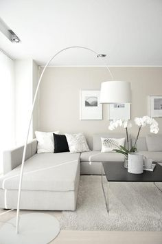 Scandinavian style living room with clean white walls, grey sofa ...
