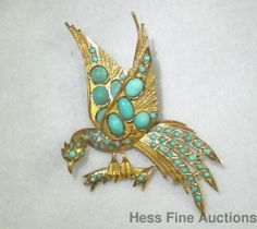 18K gold and turquoise antique Persian simurgh pin