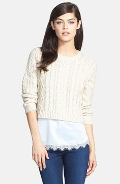 Chelsea28 Cabled Crop Sweater | Nordstrom