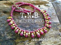 Gold Jewellery Design, Bead Jewellery, Gems Jewelry, Bridal Jewelry, Beaded Jewelry, Ruby Necklace Designs, Simple Jewelry, Jewelry Patterns, Indian Jewelry
