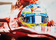 FERNANDO ALONSO ON FERRARI F14 T - Original Oil Painting on Canvas by Italy's Artist Andrea Del Pesco, size cm 70x50