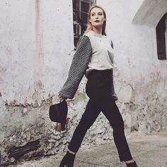 """""""Style is an attitude""""  Ft. The gray wool sweater & """"Basica"""" pleated pants.  #sweater #fashion #wool #gray #stylish #black #pants"""