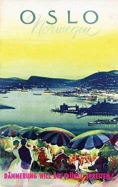 Oslo Norway - on linen by Knut Yran Utsikt fra Ekebergrestaunten Travel Ads, Travel Brochure, Travel Images, Oslo, Retro Illustration, Illustrations, Vintage Travel Posters, Vintage Ads, Type Posters