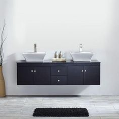 Vinnova Ravenna 60 in. W x 22 in. D x 16 in. H Vanity in Espresso with Glass Vanity Top in Black with Basin-744060-ES-BG-NM - The Home Depot