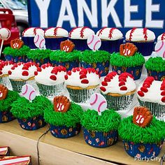 There's more than one way satisfy a sweet tooth! Make baseball cupcakes in a flash by topping them with baseball party picks or candy icing decorations.