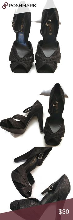 7b0f2ae661 Dana Davis Lace Heels Size 6 Italian Made Black Strap Back Dana Davis Lace  Heels.