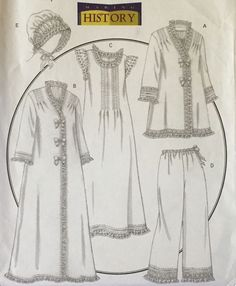 Butterick 5061 Pattern Making History Misses Nightgown Robe Hat 4 6 8 10 12 14 #Butterick