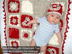 Sock Monkey hat and blanket for newborns. Www.facebook.com/agacrochet