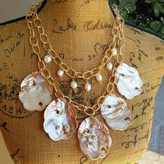 Please Pin if you like this new design! 👏👏👏 See What's New in the Bling Box! Check out my 20% OFF Sale!!!! Use Code: 20OFF Blister Pearl Statement Necklace, Mother of Pearl Necklace, Multi-Strand Necklace, Bridal Statement Necklace, Pearl Multi-strand Bib, OOAK #bestbeadedbling