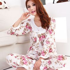 c19e902d76 2015 New women long-sleeve cotton sleep pajama sets female nightwear lady  floral Pyjamas nightgowns teenage pijamas sleepwear