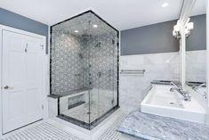 Bath Room Floor Tile Budget Kitchen Backsplash 27 New Ideas Carrara Marble Kitchen, Marble Bathroom Floor, Shower Floor Tile, Bathroom Flooring, Master Bathroom, Bathroom Remodeling, Neutral Bathroom, Marble Floor, Small Bathroom