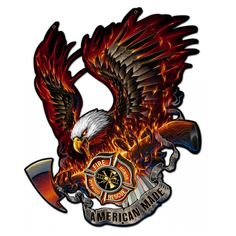 Eagle American Made Metal Sign 15 x 16 Inches Firefighter Pictures, Firefighter Decor, Firefighter Quotes, Volunteer Firefighter, Firefighters Wife, Firemen, American Made, Eagle American, Firefighter Photography
