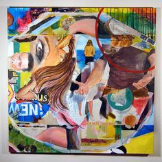 Elisha Sarti, How Do You Spell Fun?, 2012  Acrylic and collage on canvas  48 in x 48 in x 2 in / 121.92 cm x 121.92 cm x 5.08 cm.