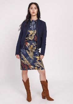 Dopasowana kurtka na zamek, delikatna stójka, długie rękawy zakończone mankietami, na mankietach zamek, podszewka,dopasowany krój Spandex, Navy Blue, High Neck Dress, Bohemian, Zip, Sport, Sweaters, Dresses, Style