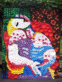 Wonderful Bottle Cap Mural.  http://myadventuresinpositivespace.blogspot.com/