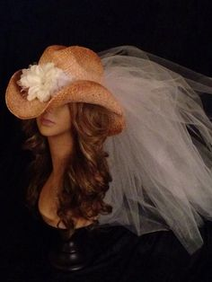bachelorette party hats bling bride Tea stained cowboy hat custom hat hat with veil garters bachlorette veils Birthday hat