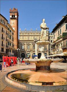 Verona  Piazza Erbe Fontana di Madonna Italy