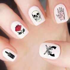 You're a gun slingin, whiskey drinkin badass Get our newly designed Outlaw Blood Nail Decal Set featuring skulls, roses, pistols, & more! On sale for $4.50 but prices will increase to $7.50 on March 25th! @lovebyluna.co