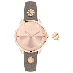 The Furla Pin watch has a round case in gold-colored steel. The Furla Pin watch's calfskin bracelet is lively and cheerful due to the presence of two interchangeable charms in the shape of a ladybug and a flower. There is an additional charm in the box. Furla, Hermes, Leather Box, Michael Kors, Mens Gift Sets, Baby Clothes Shops, Baby Shop, Seiko, Jewelry Watches