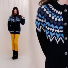 VINTAGE 50s Norwegian Sweater, fair isle sweater, ski bunny nordic, silver buttons, handknit cardigan - FREE Worldwide Shipping. $112.00, via Etsy.