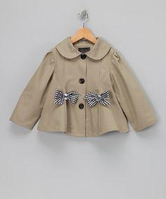 Khaki Bow Jacket - Toddler & Girls