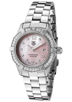 Tag Heuer Women's Aquaracer White Diamond (0.62 ctw) Pink Mother Of Pearl Dial Stainless Steel