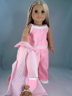 Pajama and robe set for 18 American Girl Doll by by BringingJoy