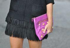 Black fringes and purple balenciaga clutch