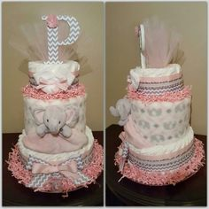 and grey child girl elephant diaper cake. Child bathe present or centerpiece. >> See more at the photo Pink Diaper Cakes, Unique Diaper Cakes, Elephant Diaper Cakes, Diaper Cake For Girls, Baby Shower Nappy Cake, Diaper Shower, Baby Shower Diapers, Cake Baby, Baby Shower Parties