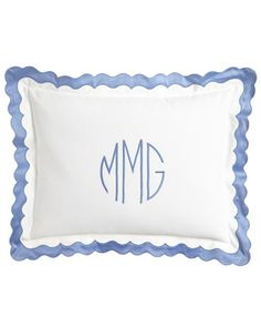 Matouk Paloma Bedding / blue & white / #monogram #scallops
