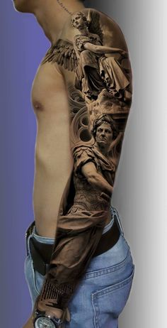 66 badass tattoo ideas that you really want to try Awesome Tattoos Full Sleeve Tattoo Design, Arm Sleeve Tattoos, Forearm Tattoos, Body Art Tattoos, Full Arm Tattoos, Gott Tattoos, Religious Tattoo Sleeves, Greek God Tattoo, Statue Tattoo